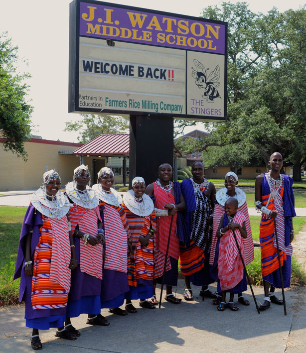 J.I. Watson Middle School welcomed the Faces of Change Maasai Tour!